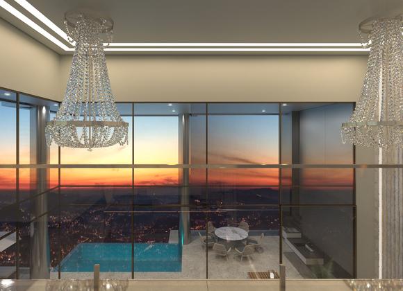 Projeção de vista interna do Palazzo