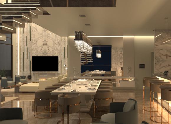 Sala de jantar do Palazzo em destaque